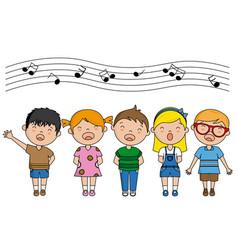 Group of children singing vector