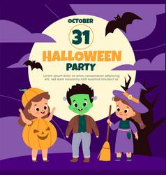 halloween party demonic spooky holiday kids vector image