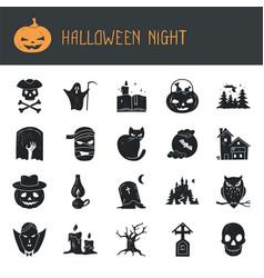 Halloween set modern simple retro-style vector