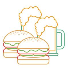 hamburgers and beers glass food tasty vector image