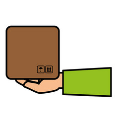 hand human with box carton delivery service vector image