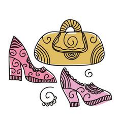 handbag and shoes vector image