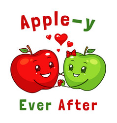 happy apple couple vector image