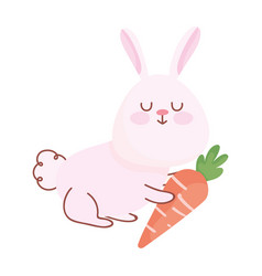 happy easter cute rabbit with carrot cartoon vector image