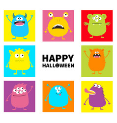 Happy halloween cute monster icon set colorful vector