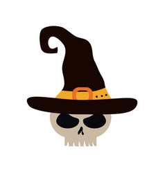 happy halloween skull with witch hat trick vector image