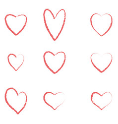 hearts set for valentines day isolated on withe ba vector image