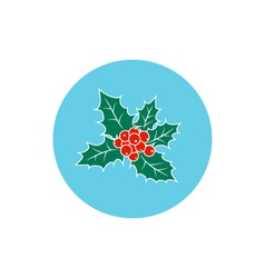 Icon Colorful Christmas Holly Berry vector image
