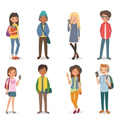 International students with books phones vector