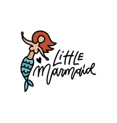 little mermaid hand drawn doodle art cute drawing vector image