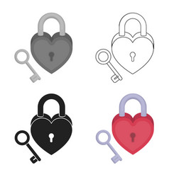 Lock and key icon in cartoon style isolated on vector