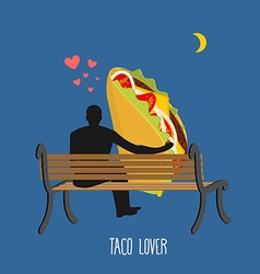 Lover taco Mexican food and people are looking at vector image