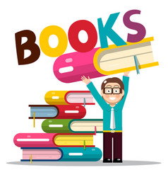 man holding book in library or bookstore vector image