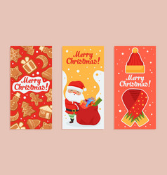 merry christmas greeting card set santa claus and vector image