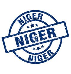 Niger blue round grunge stamp vector