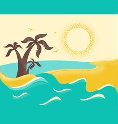 ocean waves and tropical island with palms poster vector image