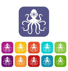 Octopus icons set flat vector