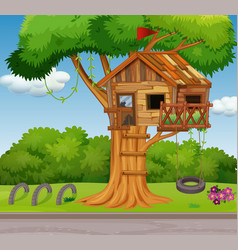old treehouse and swing in park vector image