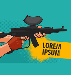 Paintball banner cartoon comics vector