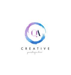 Qa letter logo circular purple splash brush vector