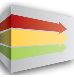 Red yellow and green arrows in perspective on wall vector