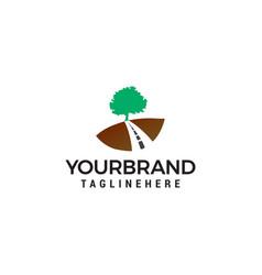 Road tree logo design concept template vector