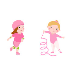 roller beautiful girl funny sports character vector image