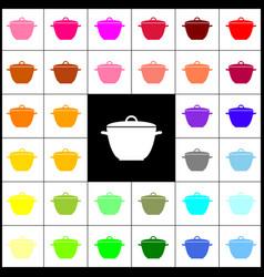 saucepan simple sign felt-pen 33 colorful vector image