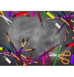 School supplies on blackboard plus EPS10 vector image