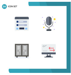 Set 4 commercial flat icons pack for flowchart vector