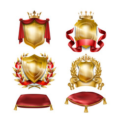 Set of icons of heraldic shields with royal vector
