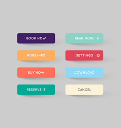 set of modern flat app or game buttons trendy vector image
