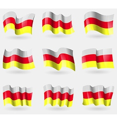Set of North Ossetia flags in the air vector image