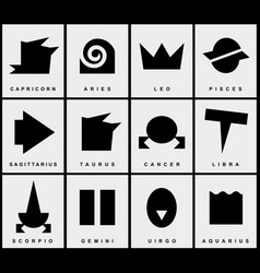 set of zodiac signs in the primitive style vector image