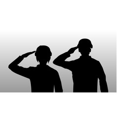Silhouette black salute men and women soldier vector