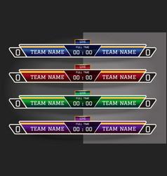 soccer scoreboard digital screen graphic template vector image