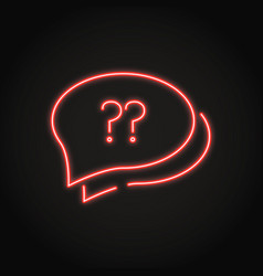 speech bubble with question sign icon in neon line vector image