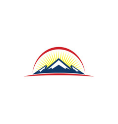 sunset mountain logo vector image