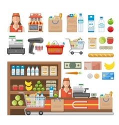Supermarket Decorative Elements Set vector
