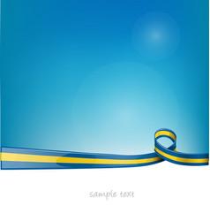 sweden ribbon flag on blue sky background vector image