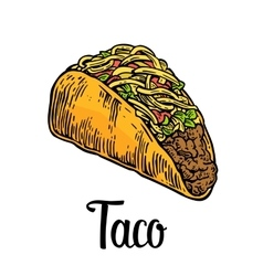 Tacos - mexican traditional food vintage vector image