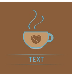 Teacup with coffee seeds heart Love card vector
