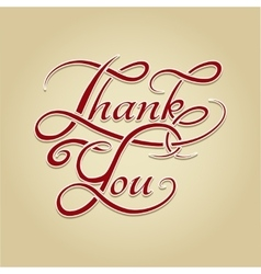 Thank You lettering retro calligraphy vector image
