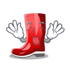 Tongue out muddy farmer boots shape the cartoon vector