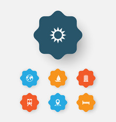 Traveling icons set collection of doss sunny vector