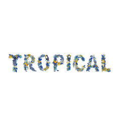 tropical floral summer lettering hand drawn vector image