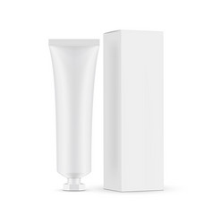 Tube mockup with screw cap and paper box side view vector