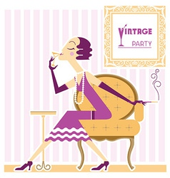 Vintage flapper girl with cigaret vector image