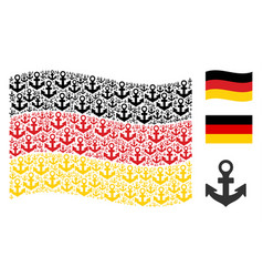 Waving germany flag collage of anchor icons vector