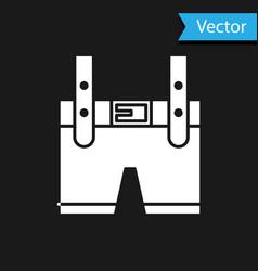 White lederhosen icon isolated on black background vector